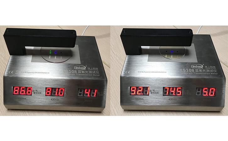 用蓝紫光测试仪测试镜片的防蓝光效果