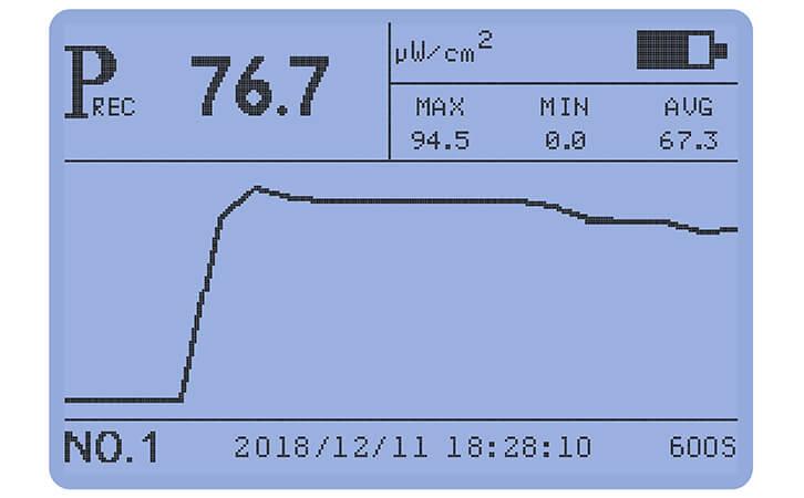 紫外线强度测试仪显示界面