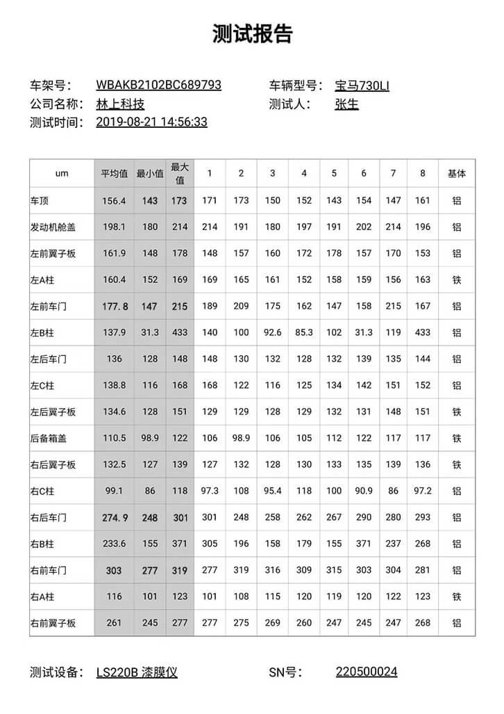 宝马730LI漆面测试报告
