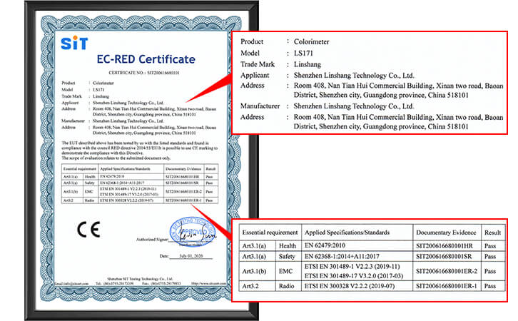 LS171色差仪CE认证证书