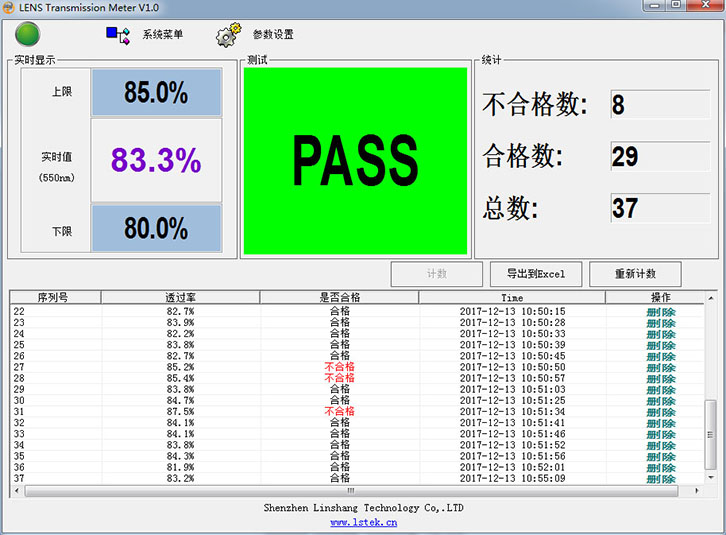 LS108A软件测试界面