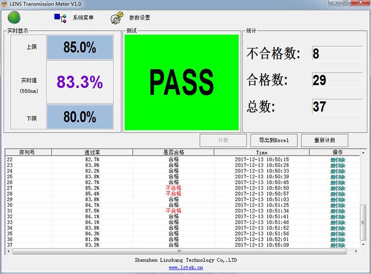 LS108D手机镜片测试仪软件测试界面