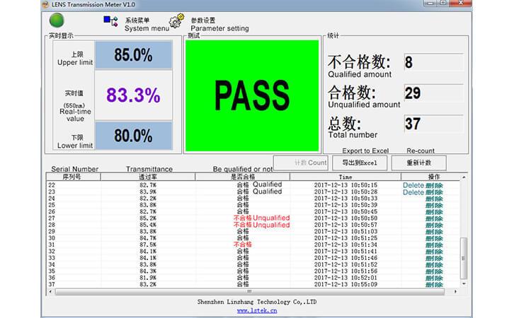 镜片透过率测量仪LS108A软件显示界面