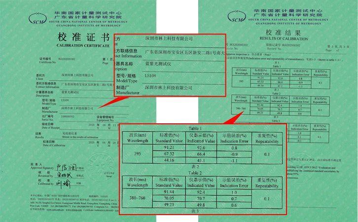 LS108蓝紫光测试仪证书