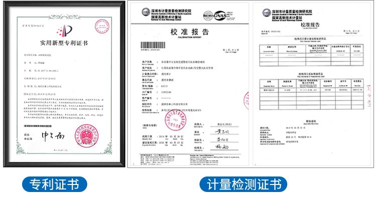 LS110分体式透光率仪专利证书及计量检测证书