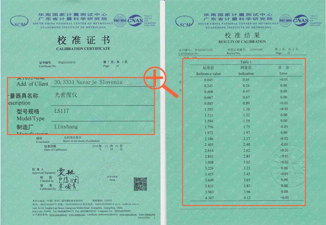 LS117光密度仪计量检测证书