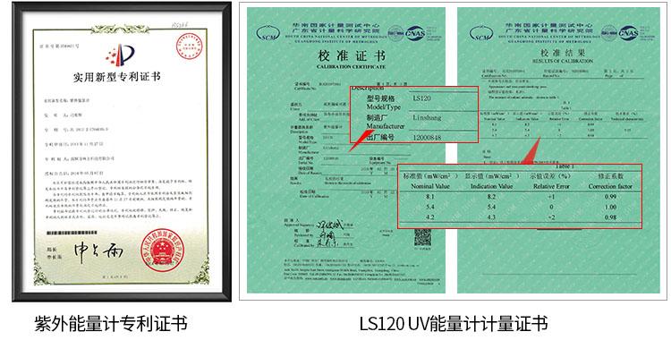 LS120紫外能量计产品资质证书