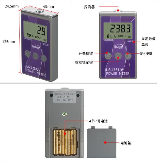 LS123紫外线测试仪外观结构展示