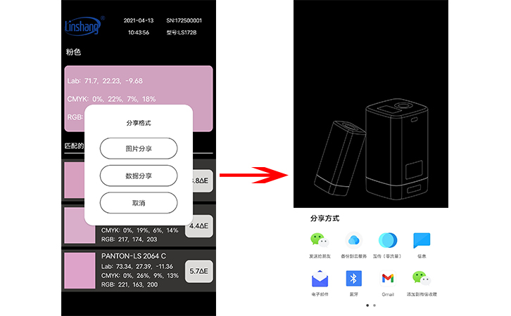 LS172B手机APP的分享界面