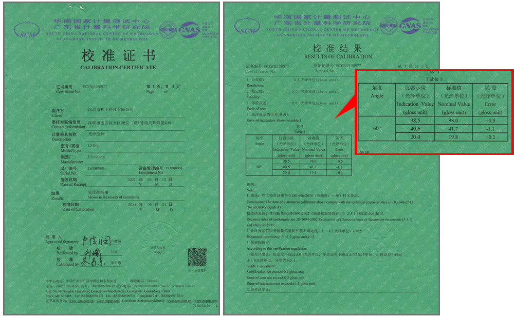 LS193光泽度仪校准证书