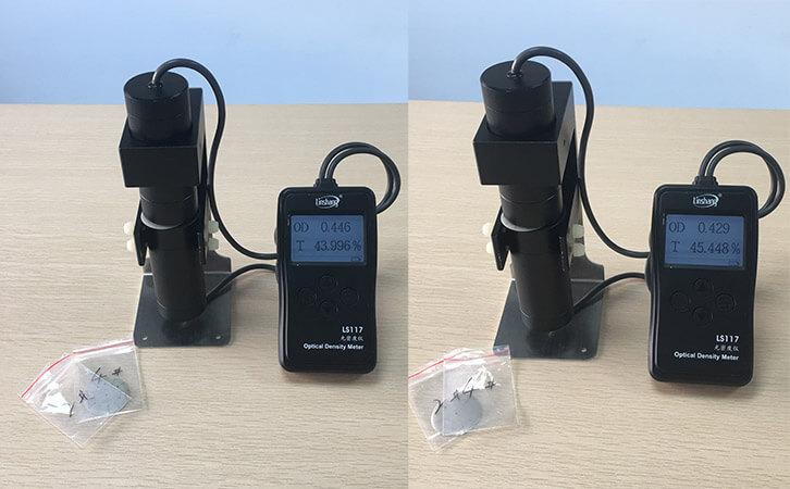 透光率仪测量偏灰色材料