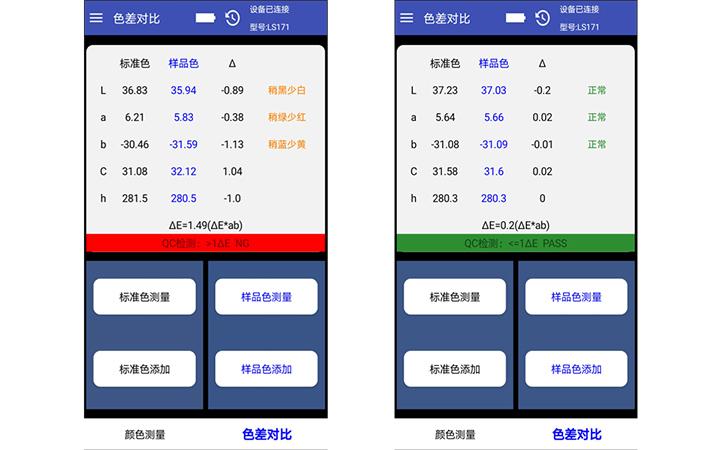 LS171色差对比测试结果