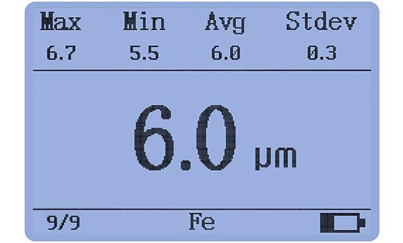 涂镀层测厚仪LS225数据统计界面